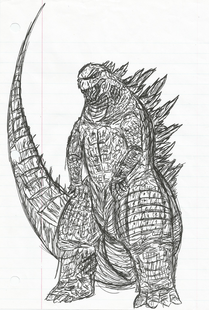 Godzilla 2014 pen by Mechagodzirra