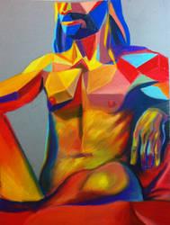 Surrealist organic geometric nude man by ryan-gfx