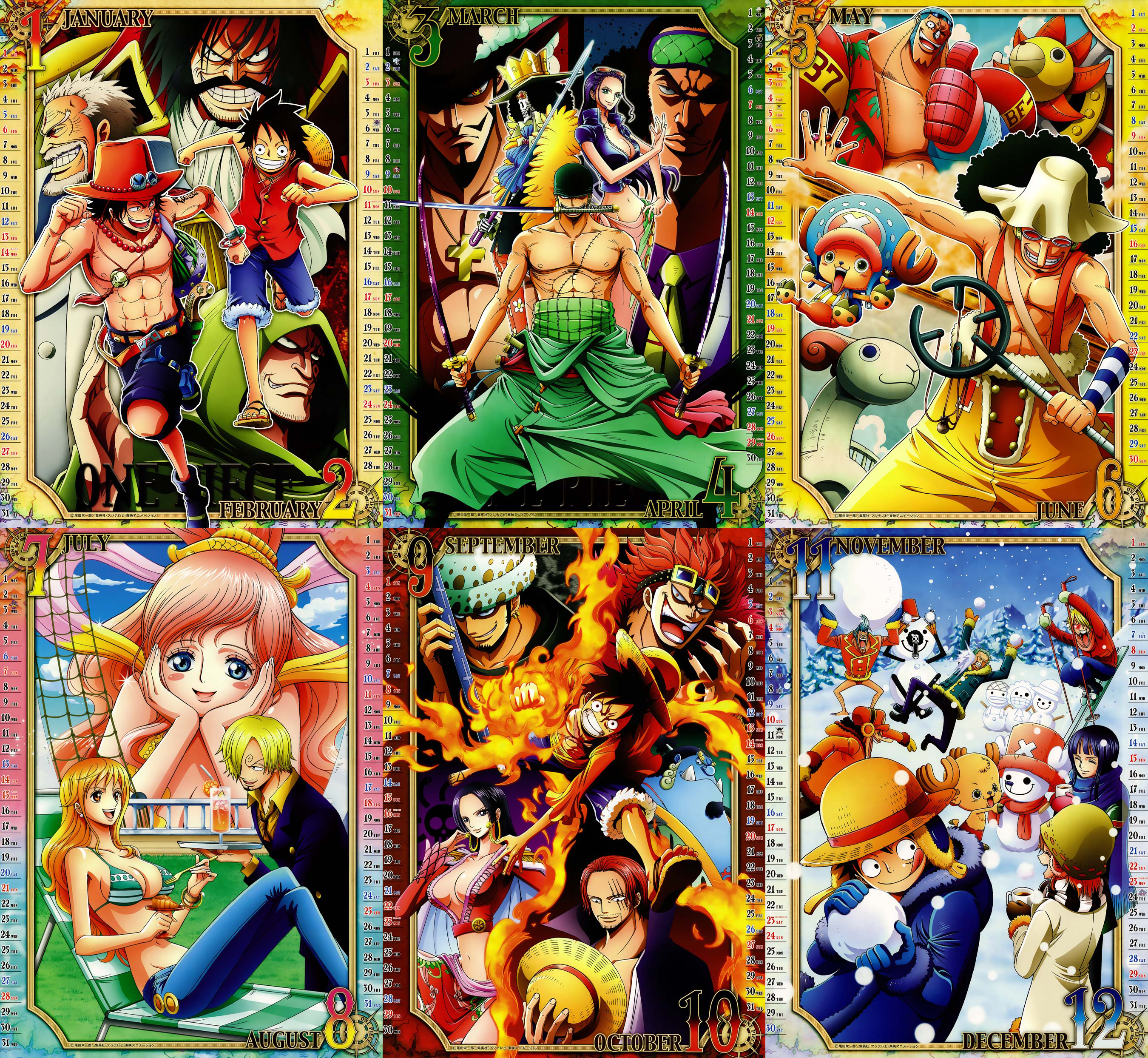 Calendar Art Piece : One piece calendar by nimesh on deviantart