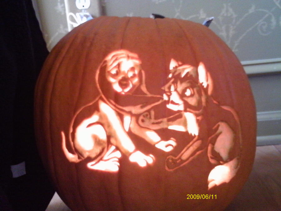 Pumpkin Carving-Fox and Hound by KageToraNoTsume