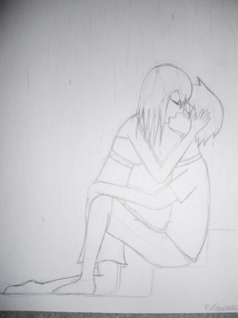 Drawings Of People Kissing In Rain