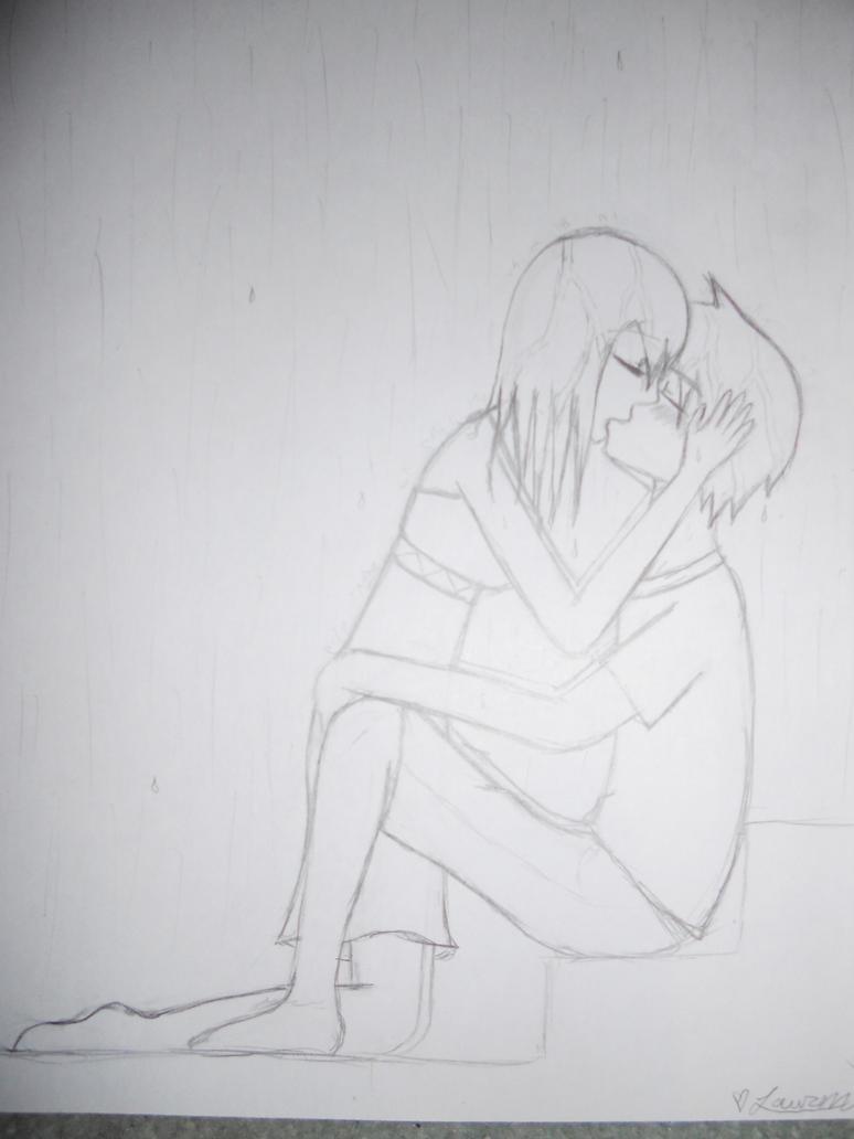 Drawings Of People Kissing In Rain