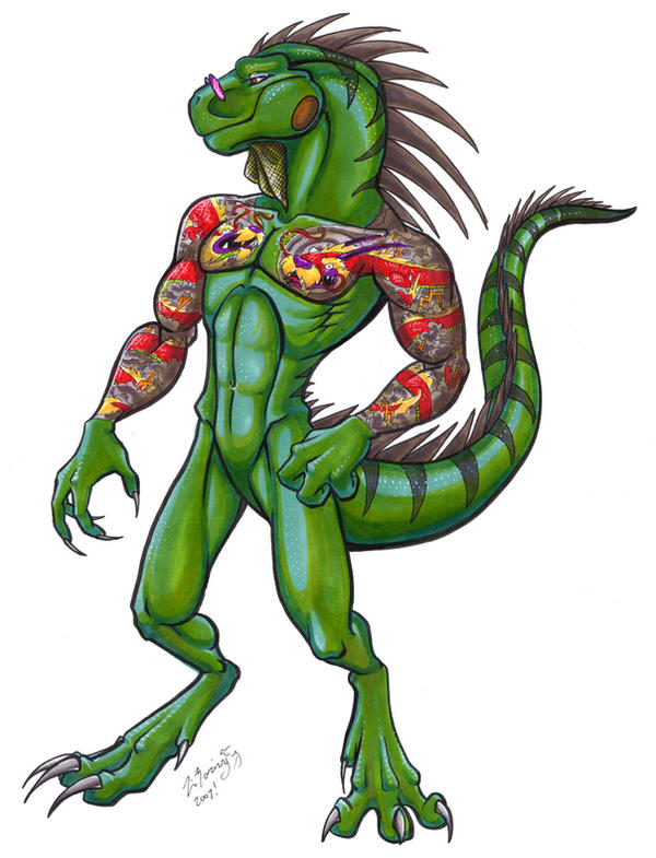 Yakuza Iguana by lizardbeth