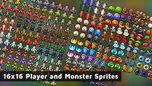 16x16 Player and Monster Sprites by 7Soul1