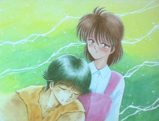 YYH - Keiko and Yusuke by TheWaffleMaiden