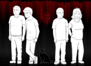 Family portrait linework with background