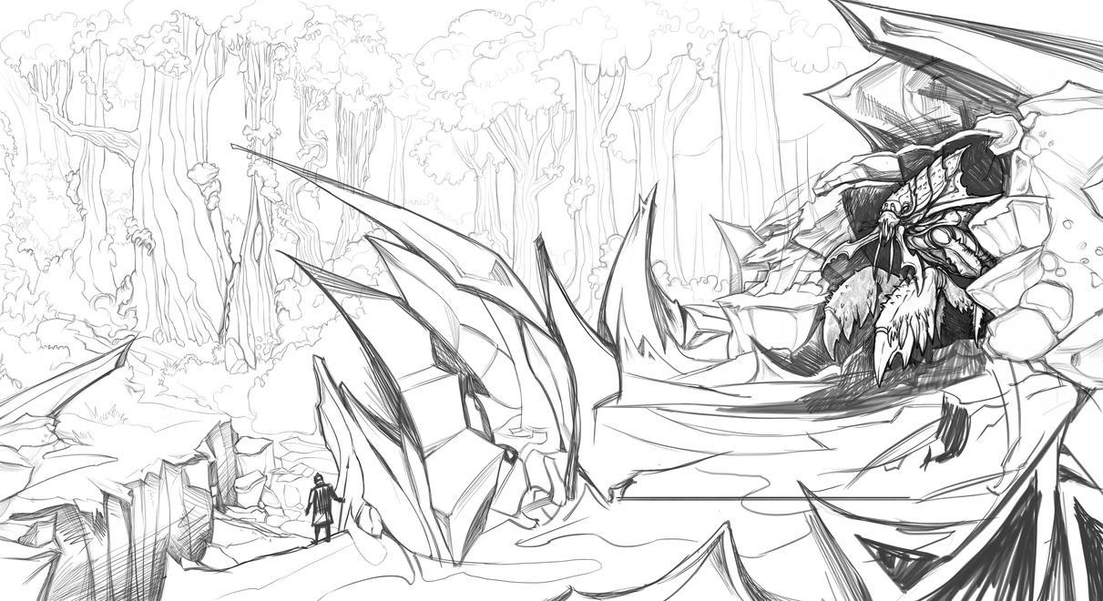 Mystic Forest Sketch by DimitarKatsarov