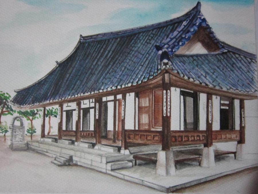 Hanok korean traditional house by lolbenjo on deviantart for Korean house design pictures