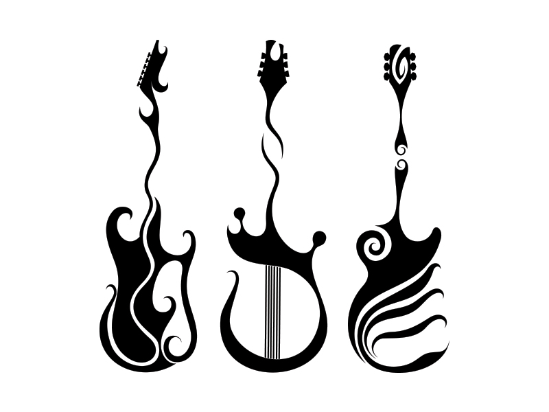 Simple Line Art Designs : Guitars tattoos by nunodias on deviantart