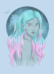 Soft Pink/Aqua Hair Study
