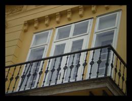 window with black balcony by carrolsmith