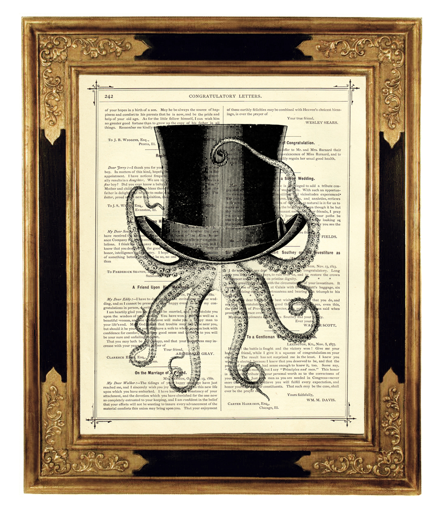 Steampunk Octopus with Top Hat by curiousprintery