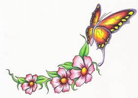 butterfly w flowers by markfellows