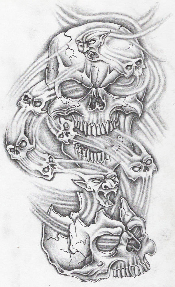 smoke skull tattoo flash pictures to pin on pinterest pinsdaddy. Black Bedroom Furniture Sets. Home Design Ideas