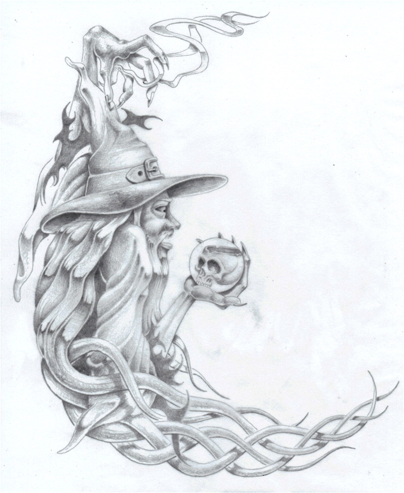 Wizard with crystal ball by markfellows on deviantart for Wizard tattoo designs