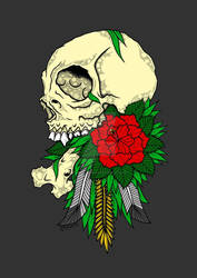 Say skull with flowers