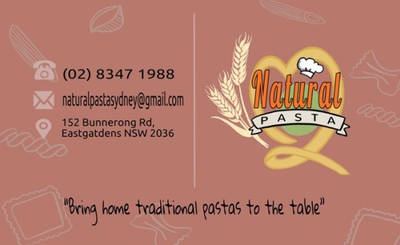 Natural Pasta Business Card (With Text) by optimismeBoo