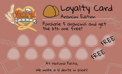 NP Loyalty Card - Arancini Edition (With Text) by optimismeBoo