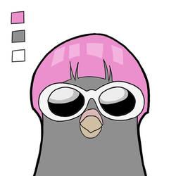 Pink Hair Bird Cool Bird (w Color Palette)