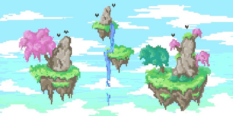 Floating Islands Pixel Art by zilewolf