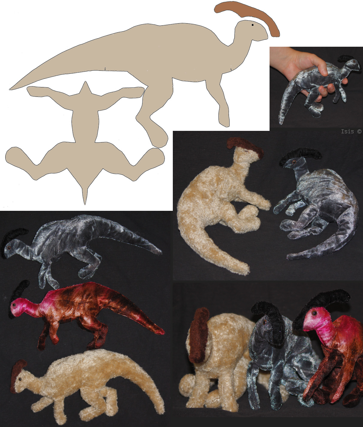 Parasaur-plushies + patterns by IsisMasshiro