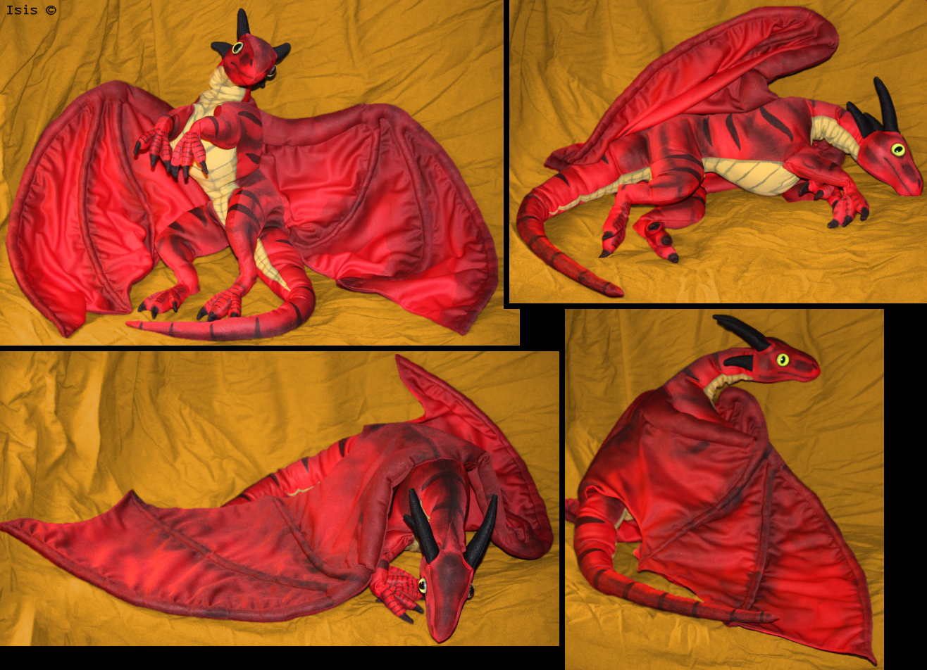 Red dragon-plushie by IsisMasshiro