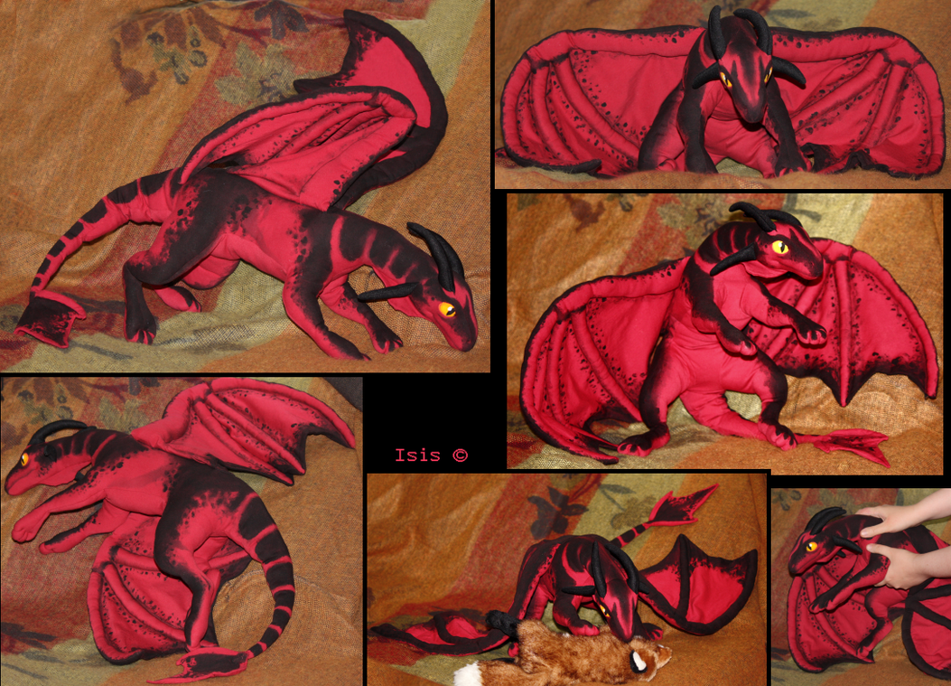 Red dragon IV - plushie by IsisMasshiro