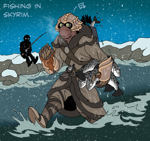 Skyrim - Fishing manually by IsisMasshiro