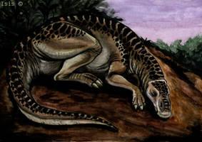 Sleepy edmontosaurus by IsisMasshiro