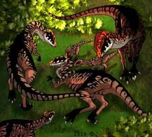 Dilophosaurs by IsisMasshiro
