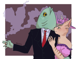 [r] love for fish man by Broppi