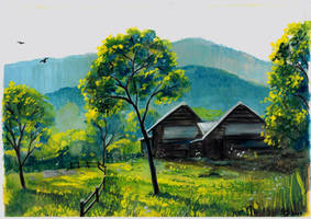 landscape in gouache by bulbar