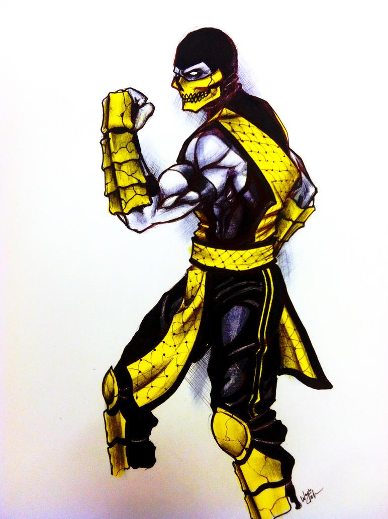 Mortal Kombat Scorpion Face Drawings Mortal kombat 9 painting