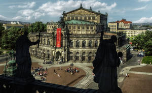 Semper Opera - seen from the Hofkirche by pingallery