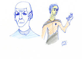 Spock and Data Sketch by AdamTSC