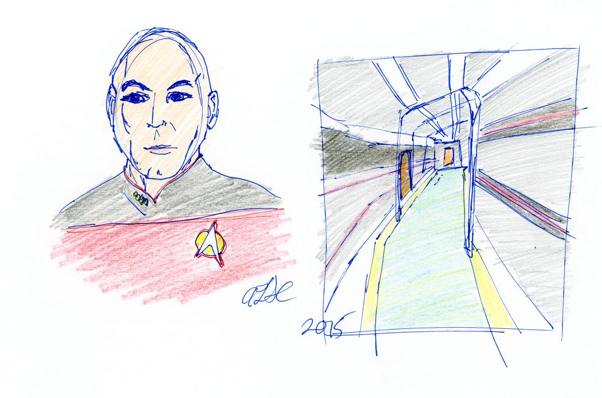 Picard and Enterprise Corridor Sketch by AdamTSC