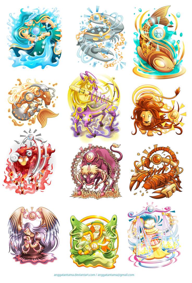 Twelve Zodiacs by anggatantama