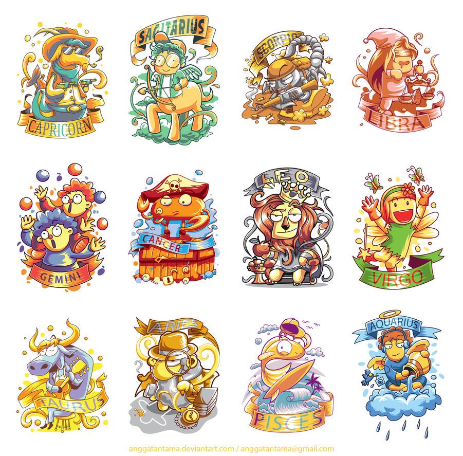 12 cute zodiac characters by anggatantama