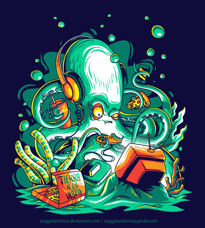 Octopus the Gamer by anggatantama
