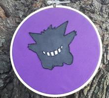 Happy Halloween Gengar Embroidery with Acrylic