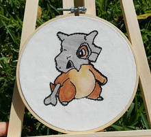 Cubone Pokemon Water Color and Acrylic Embroidery