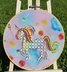 Rainbow Unicorn Jacobean Embroidery