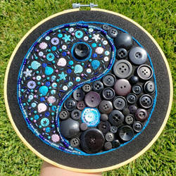 Blue Yin Yang Embroidered with Buttons and Sequins