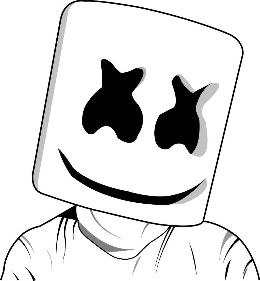 coloring pages of marshmallows | Marshmello Head LineArt by hamknw on DeviantArt