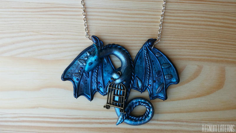 Blue Dragon Necklace - polymer clay dragon art by RegnumLaternis