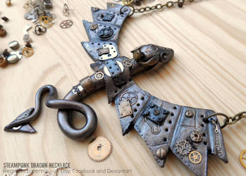 Steampunk Dragon Necklace - polymer clay art by RegnumLaternis