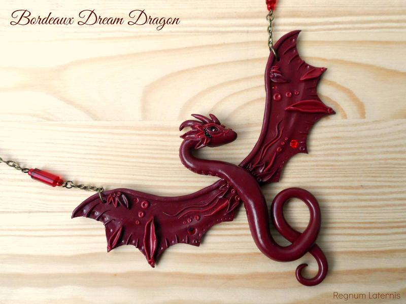 asp dragon in black red chain necklace p cord wyvern ekm