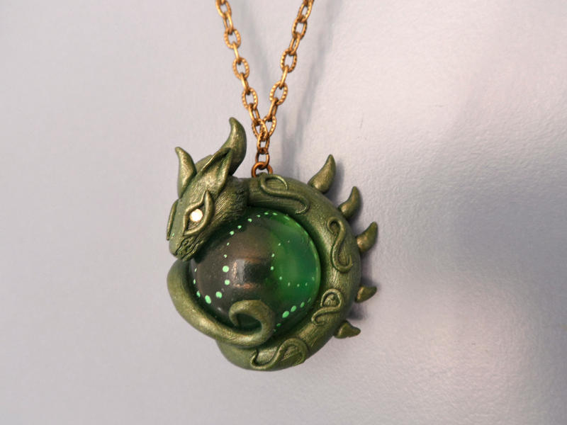 Green marble dragon necklace polymer clay art by for How to make marble jewelry