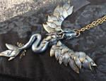 Silver Fairy Dragon Necklace - wearable art