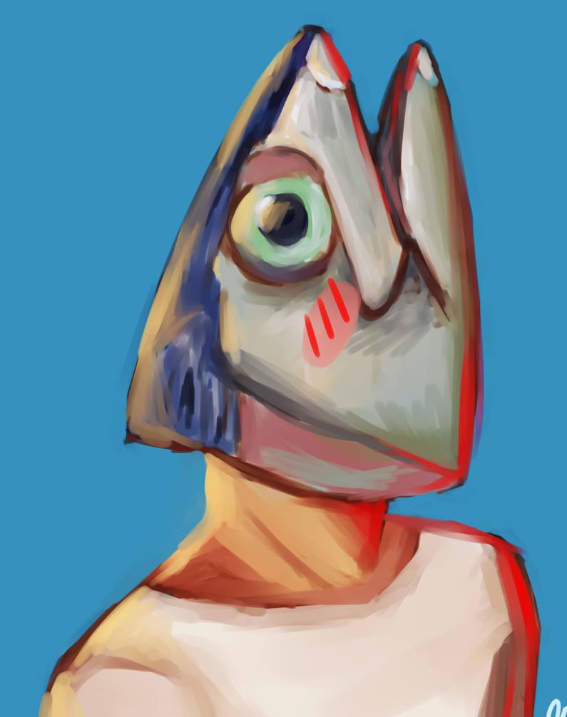Mackerel-kun (ART TRADE) by Samichii